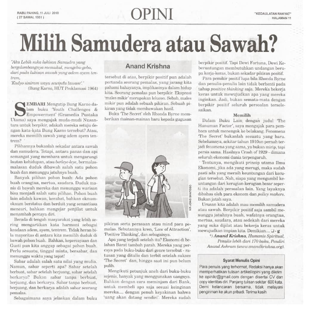 "Artikel Bapak Anand Krishna ""Milih Samudera atau Sawah"""