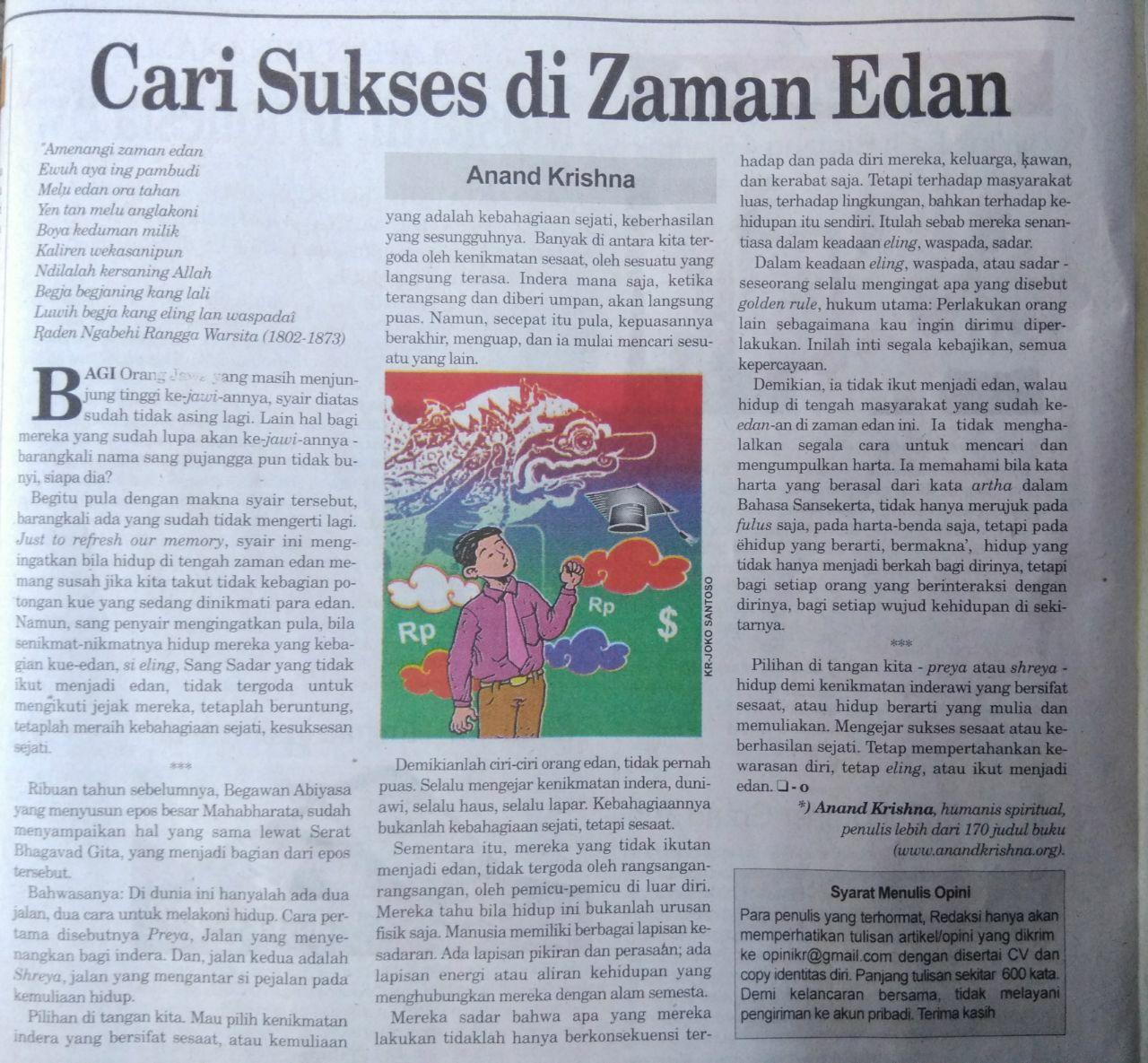 """Artikel Bapak Anand Krishna """"Cari Sukses di Zaman Edan"""""""